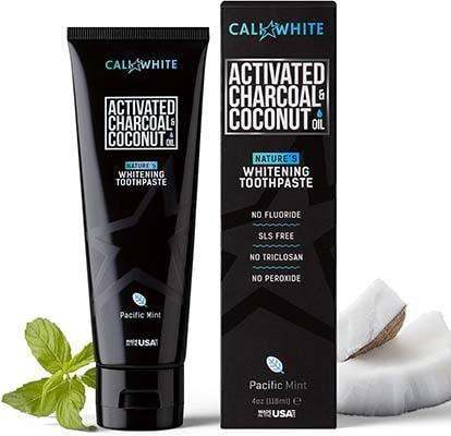 Cali White活性炭和有机椰子油牙膏